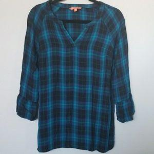 Modcloth plaid v neck blouse small